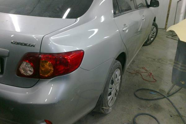 Toyota Corolla 140 2008 ремонт и покраска задней левой двери, правого крыла и бампера - 20120802