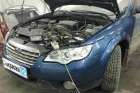 Subaru Outback (3rd generation) 2008 вытягивание передних лонжеронов, восстановление левого верхнего брызговика, капота и рамки радиатора, замена бампера и покраска