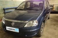 Renault Logan (2nd generation) 2012 восстановление геометрии кузова, замена и покраска: переднего бампера, переднего левого крыла, ремонт и покраска капота