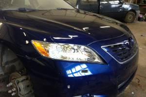 Toyota Camry 2008 восстановление геометрии кузова, ремонт и покраска капота, переднего правого крыла, переднего бампера, рамки радиатора, замена фар 20130516
