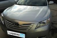 Toyota Camry 2008 восстановление геометрии кузова, замена переднего бампера, переднего левого крыла, левых дверей, вытяжка лонжеронов